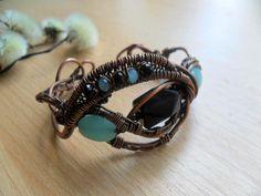 Aquamarine, Wire wrapped bracelet, Bohemian bracelet, Copper wire bracelet, cuff, Wire work, Wire wrap bracelet, jewelry, Copper jewellery by BoBoWorlds on Etsy