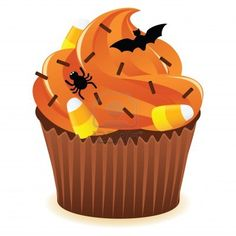 Hallowen Spooky Cupcake with orange icing. EPS 8 CMYK with global colors vector illustration.