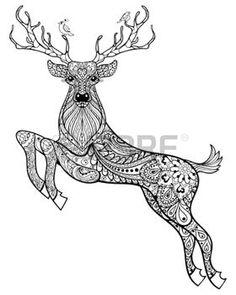 animales: Dibujado a mano ciervos cuernos magia con aves para adultos anti-estrés para colorear con detalles altos aislados sobre fondo blanco, ilustración en estilo del zentangle. Ilustración monocromática del dibujo. Colección animal. Vectores
