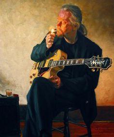 """Larry Bracegirdle (Canadian, born 1948) self-portrait, """"Smokin"""""""