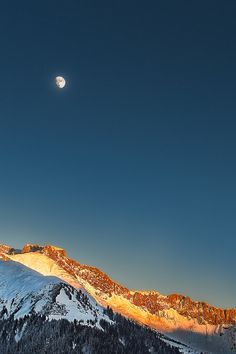 Look to the moon; the moon will give you hope.  | Graubünden, Alps, Switzerland, by Manuel Martin |
