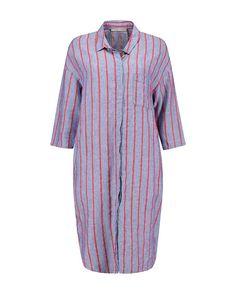 Fashionable, easy to wear deze gestreepte blouse jurk met kraag, steekzakken in de zijnaden en een klein borstzakje. De plooi op het rugpand zorgt voor een nonc