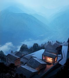 Image 30, View Image, Mir Rendering, Hillside Village, Terraced Landscaping, Garden Site, Architecture Visualization, Autumn Trees, Mountain View