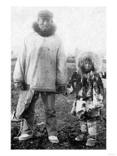 Eskimo Father and Child In Alaska