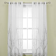 Alton Print Grommet Window Curtain Panel white mesh with silver grey tree branch