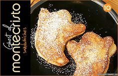 This tasty-looking Ghost of Montecristo recipe from Martha Stewart. Made with country potato bread, melted cheese, turkey, ham, and a dusting of powdered sugar… these sound so good I could go for one right now! Halloween Breakfast, Halloween Dinner, Holidays Halloween, Halloween Fun, Halloween Desserts, Halloween Treats, Halloween Foods, Monte Cristo Sandwich, Black Food Coloring
