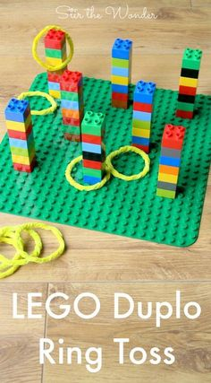 LEGO Duplo Ring Toss Ring throwing with Duplo. Good idea for rainy days more LEGO Duplo Ring Toss Ring throwing with Duplo. Good idea for rainy days Ninjago Party, Lego Birthday Party, Lego Ninjago, Birthday Games, Birthday Boys, Birthday Crafts, Superhero Party, Birthday Activities, 5th Birthday Ideas For Boys