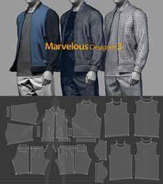 3d Fashion, Fashion Sewing, Clothing Patterns, Sewing Patterns, Men Design, Zbrush, Textile Design, Pattern Design, Character Design