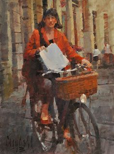 "Woman on a Bicycle with Papers by James Crandall Oil ~ 16"" x 12"""