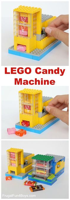 How to Build a LEGO®️️ Candy Machine - Dispense One Candy at a Time! Building instructions in the post.