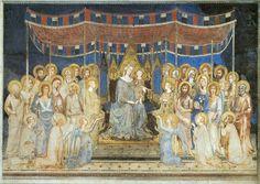 SImone Martini. Maesta, vers 1315, fresque, Sienne, Palais Publique. 763 cm × 970 cm.