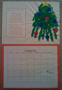 homemade December calendar with hand print Christmas tree and holiday poem