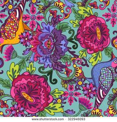 Oriental Vector pattern of flowers and birds.
