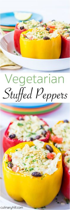 Vegetarian Stuffed Peppers are a great make-ahead option that bakes up in just 30 minutes. Filled with chipotle-flavored rice and beans and smothered with melted cheese, even carnivores will devour these!