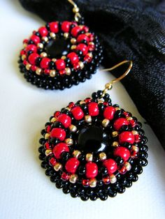 Beaded earrings Bead embroidered jewelry Black by MisPearlBerry, $34.00