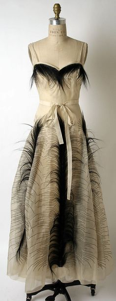 Jeanne Paquin dress for Hattie Carnegie 1930s silk cotton and fur evening gown.. love the feathers!