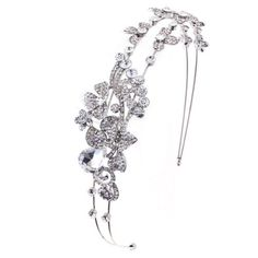 "Bridal Wedding Jewelry Hair Headband Tiara Crystal Rhinestones Floral Vine by Accessoriesforever. $32.00. Dimensions (Size): Ornament : Approx. 9"" Width x 1.5"" Tall, Band Size: Approx. 15"" Long. Nickel / Lead Compliant. Color: Clear, Silver. Style: Flowers, Floral Vine. Material: Clear Crystal Rhinestones, Shinny Metal Casting, Rhodium / Silver Plated. A beautiful headband that sparkles with dazzling crystal rhinestones. Versatile, the piece is perfect for the classic..."