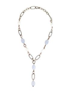 David Yurman Blue Chalcedony & Pearl Station Necklace