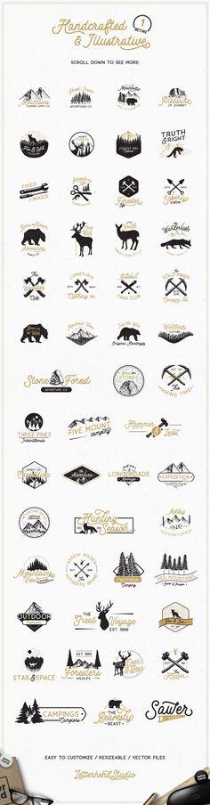 Adventure Logo Bundle & FREE FONTS by letterhend on @creativemarket
