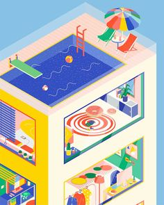 Angela Chan is a New York-based artist and illustrator. Her 'Isometric House' series reflects a bunch of colorful interiors from an isometric perspective. A self-proclaimed 'fan of geometric shapes, colorful and handcrafted work', Chan creates an alternative, sweet and illusionary reality. www.imiuzangela.com