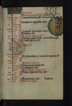 Calendar page for November showing the labour of the month: man carrying dead hog on his back. Late 13th century, Cologne. Walters Art Museum MS W.41, fol. 7r. -- The Cologne Psalter-Hours.