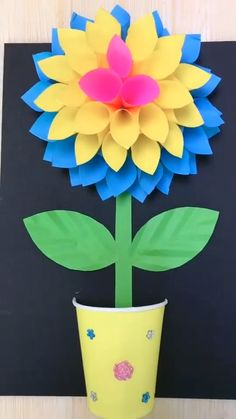 Mothers Day Crafts For Kids Easy Mothers Day Crafts For Kids, Paper Crafts For Kids, Diy Paper, Paper Flowers Craft, Flower Crafts, Diy Flowers, Diy Crafts Videos, Easy Crafts, Diy And Crafts