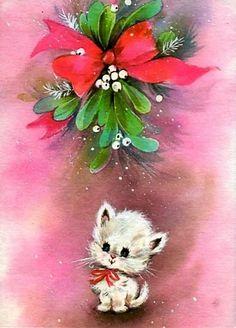 white kitten under mistletoe Christmas Kitten, Merry Christmas To All, Christmas Scenes, Christmas Animals, Retro Christmas, Christmas Greetings, Christmas Time, Vintage Christmas Images, Vintage Holiday