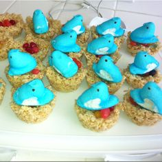 For Easter the kids made little rice crispies birds nest with jelly bean eggs and peep birds.  Best part - it was a gluten free, dairy free dessert that my mom could eat.