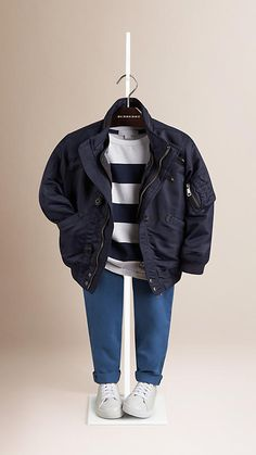 Navy Blouson Jacket with Quilted Warmer - Image 1 Cute Baby Boy Outfits, Little Boy Outfits, Kids Outfits, Boys Clothes Style, Kids Clothes Boys, Kids Fashion Boy, Toddler Fashion, Luxury Baby Clothes, Boyish