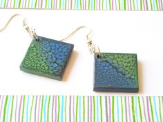 Hand painted wooden earrings Dragon Skin by oBocreations on Etsy, $15.00