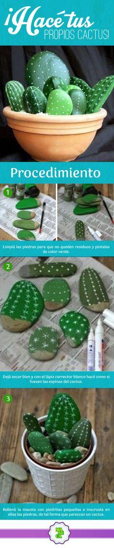 ¡Animate a hacer este cactus de piedras!  Materiales:  Piedras grandes y pequeñas Pintura verde  Corrector en lápiz  Maceta