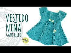 Tutorial Easy Crochet Baby Girl Dress with Flowers Crochet Baby Dress Free Pattern, Beau Crochet, Crochet Baby Jacket, Gilet Crochet, Baby Dress Patterns, Baby Girl Crochet, Crochet Baby Clothes, Skirt Patterns, Coat Patterns