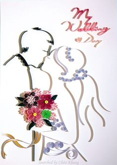 Unknown artist - Quilled wedding (Searched by Châu Khang) Paper Art, Paper Crafts, Paper Quilling, Wedding Gifts, Weddings, Friends, Children, Artist, Flowers