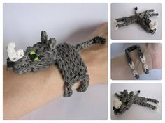 Loombicious 3D rhino bracelet Rainbow Loom - YouTube