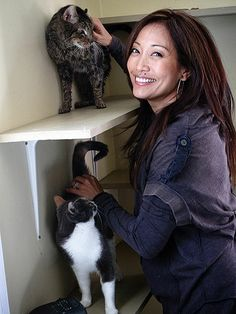 """CARRIE ANN INABA  The Dancing with the Stars judge has six cats: Squeaker, Taz, Zeus, Mia, Bubble and Miley. Because she works closely with a network of animal rescuers, she's fostered many, many more. """"I go to bed crying sometimes, because you can't save them all,"""" she told PEOPLE. """"We try, and I feel good about that."""""""