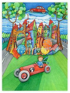 Serie: Aquarell Zeichnungen Motiv:  die fliegende #Seifenkiste - fliegende Autos im Land der Luftballons - Serie: Bilder für's Kinderzimmer.