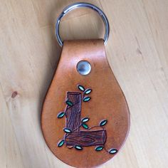 Leather Key Fob Leather Keychain Woodgrain by LoveThatLeather