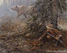 Wildlife Paintings, Wildlife Art, Hunting Pictures, Hunting Art, Cowboy Art, Native American Art, American History, Bear Art, Le Far West