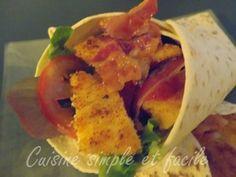 Wraps au poulet pané et sauce blanche - Cuisine simple et facile Bruschetta, Sandwiches, Tacos, Mexican, Chicken, Ethnic Recipes, Food, Burgers, Simple