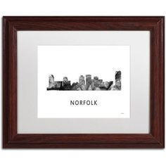 Trademark Fine Art 'Norfolk Virginia Skyline WB-BW' Canvas Art by Marlene Watson, White Matte, Wood Frame, Grey