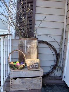 Eggs Barrel Decoration For Easter #Outdoor #Easter #Decor