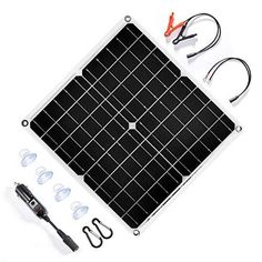 TP-solar 20 Watt 12 Volt Solar Trickle Charger 20W 12V Solar Panel Car Battery Charger Portable Solar Battery Maintainer + Cigarette Lighter Plug Alligator Clip O-ring Terminal for Car Boat Motorcycle Monocrystalline solar panel kits 12 volt DC solar power charger, it is perfect for maintaining batteries of car RV motorcycle boat marine trailer tractor ATVs truck, etc. It is designed to maintain the 12V battery at a proper storage voltage with sunlight. Plug and play: Heavy duty 2.1mm x 5.5mm DC 12v Solar Panel, Solar Panel Kits, Solar Panels, Solar Battery Charger, Portable Battery, Solar Power, Plugs, Car, Automobile