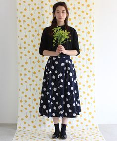 AMBIDEX Store 【 予約販売 】○ ネモフィラ プリント セミ フレアー スカート(F コン): bulle de savon