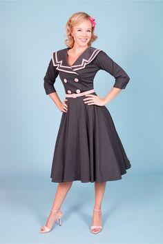 Ashley Circle Large Collar Pink & Gray Retro Dress