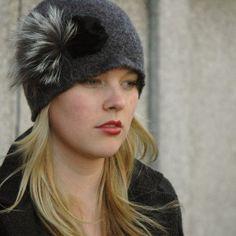 Handmade Felt Hat with Fur by Julie Sinden  www.juliesinden.com