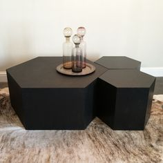 Hexagon Wood Modern Geometric Table- Matte Black from Hammers & Heels. Saved to Eco-Friendly Furniture . Colorful Furniture, Unique Furniture, Rustic Furniture, Luxury Furniture, Furniture Design, Furniture Removal, Mirrored Furniture, Furniture Layout, Cheap Furniture