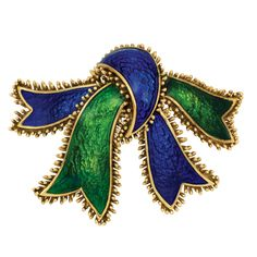Gold and Green and Blue Enamel Bow Clip-Brooch, David Webb  The stylized gold bow applied with patterned green and blue enamel,