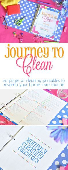 This Journey to Clean eBook is awesome!  This is a collection of printables that let you start a monthly cleaning schedule in your home. It includes a printable notebook and detailed instructions on how to integrate the cleaning schedule into your daily life. Great deep cleaning ideas too! http://journeytoclean.lambertslately.com