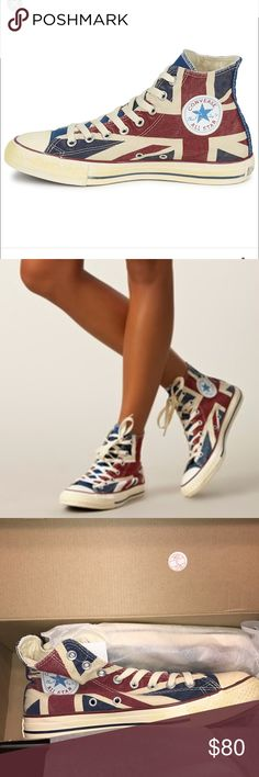 NWT CONVERSE ALL STAR HIGH TOPS UNION JACK! Brand new, never worn, still in their box! Chuck Taylor Converse All Stars with Union Jack print! They are fantastic shoes! Mint condition 👌🏼 Converse Shoes Sneakers