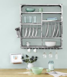 Smart! A dish drainer that doubles as storage! From Tse & Tse.    #kitchen #storage #smallspace